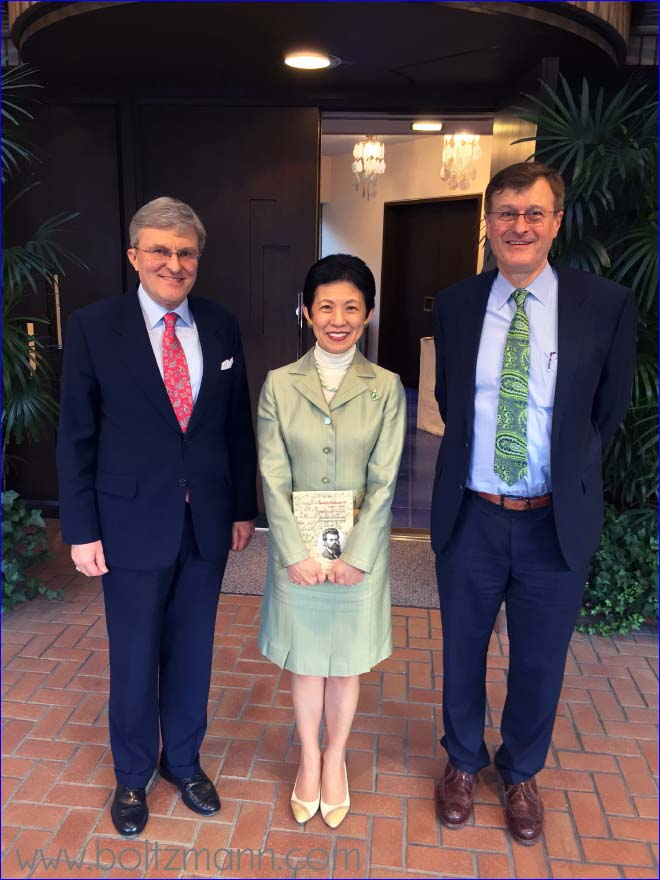 Dr Bernhard Zimburg (Ambassador of Austria to Japan), Her Imperial Highness, The Princess Takamado, Gerhard Fasol (from left to right)