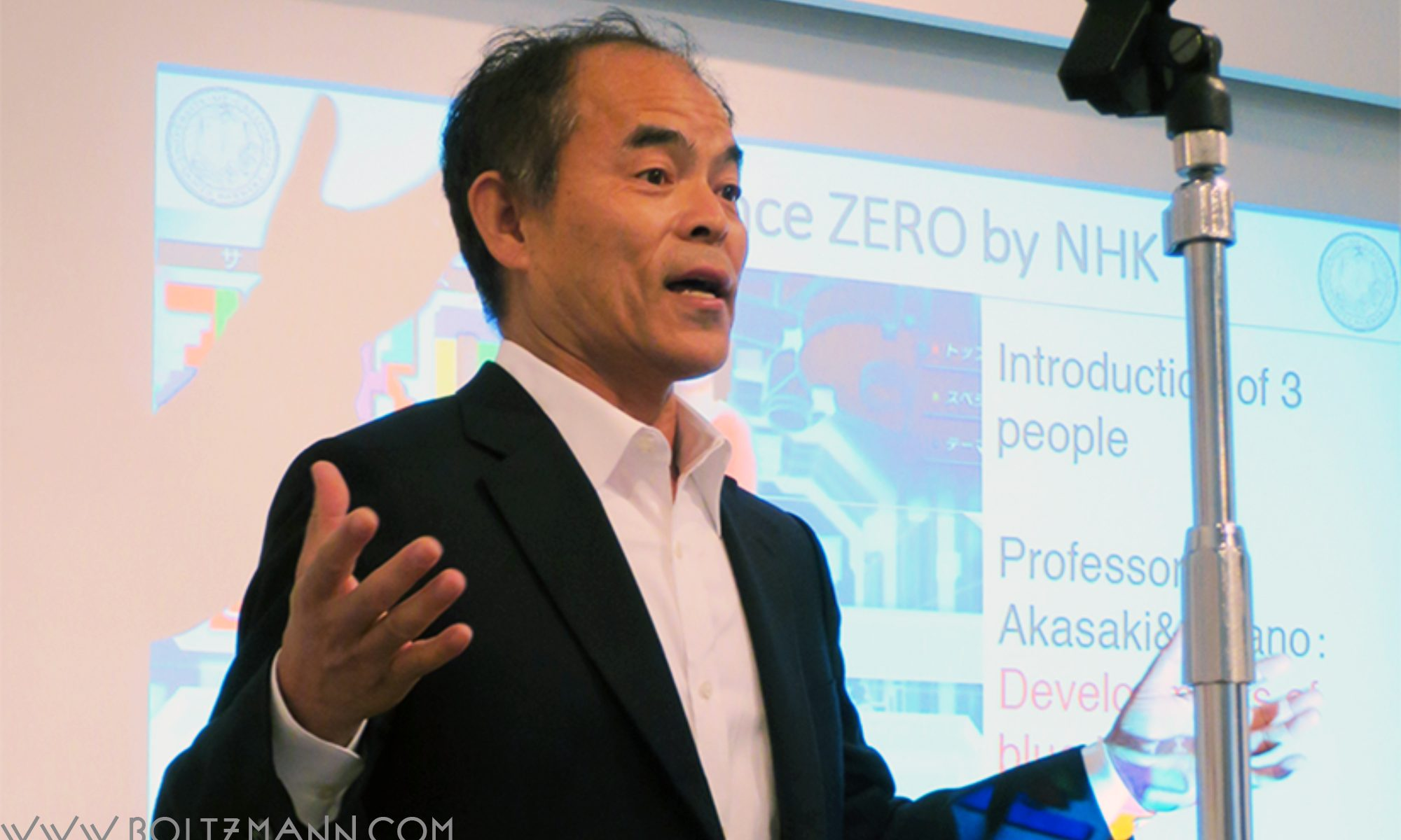Shuji Nakamura, Nobel Prize in Physics 2014. Inventor of blue GaN LEDs and lasers. Professor, Solid State Lighting and Energy Electronics Center, Materials and ECE Departments, University of California, Santa Barbara, USA