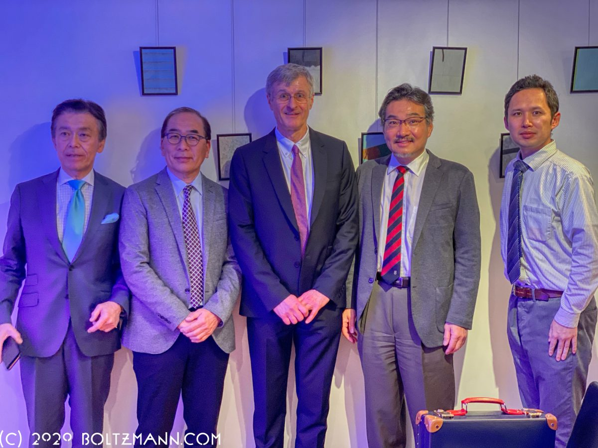12th Ludwig Boltzmann Forum Tokyo 2020. Speakers: Masaki Ogata (Vice-Chairman JR-East Railway Company), Hiromitsu Nakauchi (Professor at Stanford University and Tokyo University), Gerhard Fasol (Creator and Chair, Ludwig Boltzmann Forum), Masashi Yanagisawa (Professor Tsukuba University and Director of the International Institute for Integrative Sleep Medicine), Satoshi Nagata (NTT DOCOMO Inc., 3GPP TSG-RAN Vice-Chairman) (from left to right)
